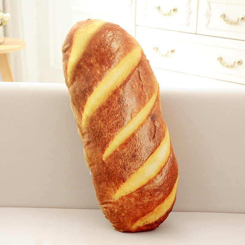 Yeni yastık 3D simülasyon ekmek şekli yastık yumuşak bel desteği yastık peluş doldurulmuş oyuncak baskı yumuşak PP pamuk 2020