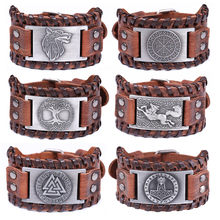 Skyrim Talisman Genuine Leather Bracelet Men Compass Tree of Life Valknut Wolf Head Charm Male Wristband Amulet Viking Bracelets
