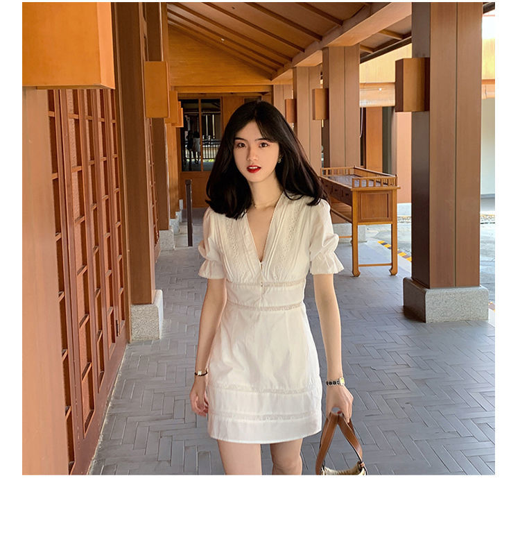 French Elegant Dress Women Sexy White V-Neck Fairy Mini Dress Office Lady Casual 2021 Summer Female One Piece Dress Korea Chic