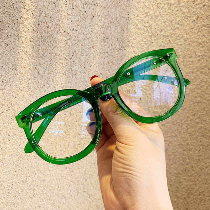 2020 novos óculos ópticos óculos de olho de gato grandes dimensões quadro designer arroz moda redonda mulher transparente verde óculos quadro