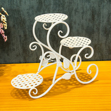 European Style Iron Multilayer Flower Pot Rack On Living Room Balcony Mini Flower Stand Floor Type Potted Plants Flower Stand