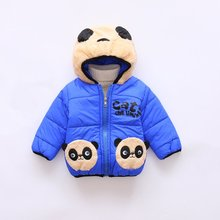 цена на Toddler Baby Girls Boys Winter Warm Clothes Hooded Cotton Down Jacket Coat Kids Cartoon Panda Thick Snowsuit Set