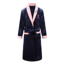 Большой размер 3XL для мужчин и wo Мужская домашняя одежда однотонное кимоно Халат коралловый флис домашний халат с v-образным вырезом одежда для сна