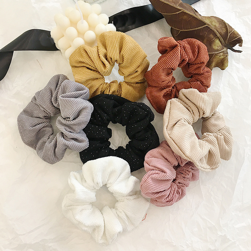 New Winter Elastic Corduroy Hair Ring Rope Ties Scrunchies Women Girls Rubber Bands PonytailSolid Color Hair Accessories