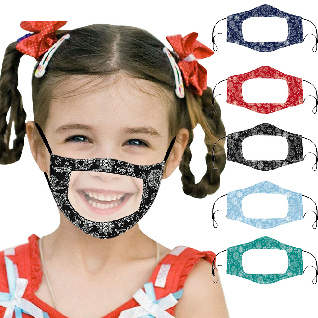1 pièces mode enfants Visible Earloop impression masque Transparent avec fenêtres claires drôle unisexe bouche bouclier enfants masque