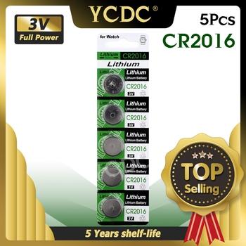 YCDC 5 sztuk karty 3V Volt nowy CR2016 Bateria litowa ogniwa monetowe przycisk baterii BR2016 DL2016 LM2016 KCR2016 ECR2016 zegarek Bateria tanie i dobre opinie CN (pochodzenie) NONE 2cm 0 78 Li-ion EE6225 cr2016 China (Mainland)