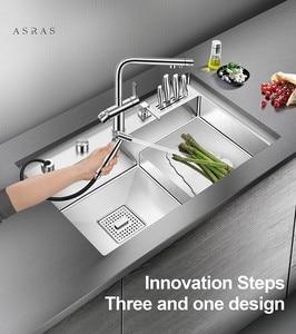 Asras 8048J + 3063 SUS304 ручная работа кухонная раковина с тонкой щеткой ступенчатая основа с сливным краном и кухонным краном Бесплатная доставка