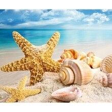 beach conch starfish circles waterproof bath curtain DIY Diamond Sea Beach Starfish Conch Landscape Diamond Painting Cross Stitch Square Drill Rhinestone Decoration Paint