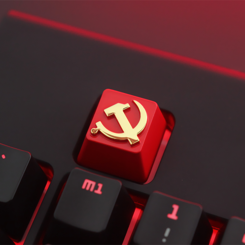 1 PCS Communist Party Or Pentagram Personalized Embossed Zinc Aluminum Metal Keycap Mechanical Keyboard R4 Height Button(Single)