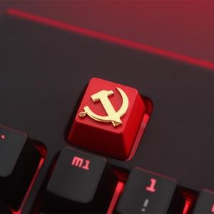 Image 1 - Keycap 1 Pcs Communistische Partij Of Pentagram Gepersonaliseerde Reliëf Zink Aluminium Metal Keycaps Mechanische Toetsenbord R4 Hoogte Knop