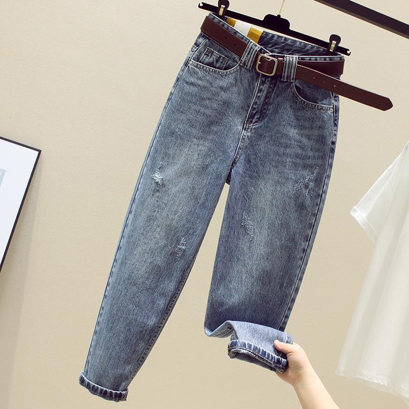 2020 Spring Summer New Korea Fashion Women High Waist Loose Ripped Jeans Vintage Blue Casual Cotton Denim Harem Pants S721