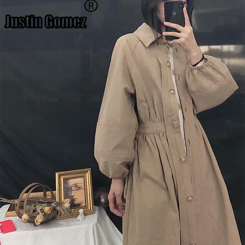 Vintage Waist Slim Single-breasted Long Coat For Female Women Fashion Loose Casual Khaki   Trench   Coat Korean Women's Coat Autumn