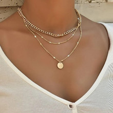 vintage necklace on neck Gold chain Women's jewelry layered accesories for girls clothing aesthetic Gifts fashion Pendant 2021