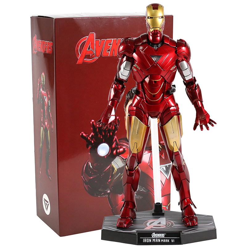 Hot Toys MMS 171 Iron Man 2 The Avengers Mark VI 6 PVC Action Figure Collectible Model Toy With LED Light