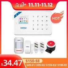 KERUI W18 نظام أمن الوطن Aalrm WIFI GSM لاسلكي App التحكم 1.7 بوصة لوحة المفاتيح التي تعمل باللمس لوحة أمن الوطن مجموعة إنذار الحركة