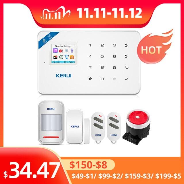 KERUI W18 홈 보안 Aalrm 시스템 WIFI GSM 무선 App 제어 1.7 인치 터치 키보드 패널 홈 보안 모션 알람 키트