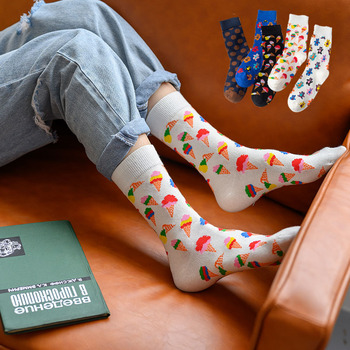 Ins Ice Cream Pattern Couple Socks New Trend Cute Cartoon Bear Print Mid-calf Length Cotton Crew Socks Women Cozy Unisex Socks