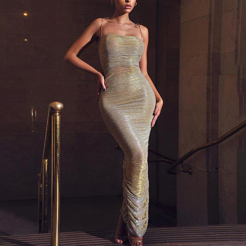 Sexy Off Shoulder Sequin Bodycon Dress Women Sleeveless Long Dress Female 2020 Spring Summer Elegant Club Night Party Dress#J30