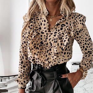 Ruffled Polka Dot Print Women's Blouses Autumn Single Breasted Long Sleeve Female Blouse 2020 Elegant Office Ladies Tops Clothes