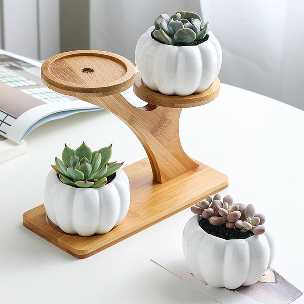 Plant Stand Ceramic Succulent Flowers Porcelain Garden Pots Bamboo Planter Pot