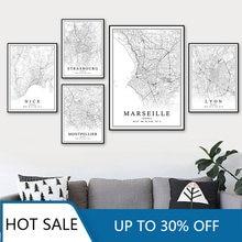 Carte des villes de la France, Paris, Paris, Marseille, Marseille, Marseille, agréable, bordeaux, impression de peinture sur toile, affiches, décor de salle esthétique