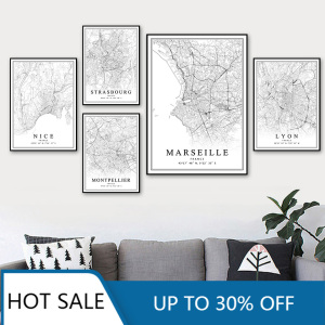 France City Map Paris Lyon Marseille Montpellier Nice Strasbourg Toulouse Canvas Painting Prints Posters Aesthetic Room Decor