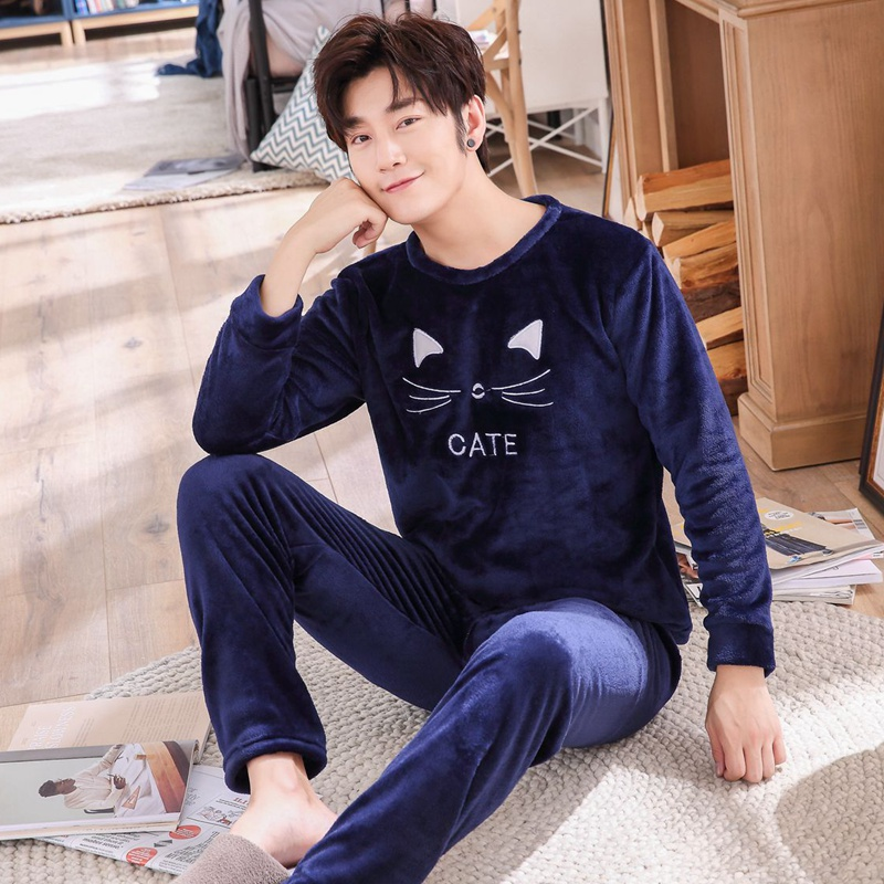 Mens Pajamas Men Sleepwear Autumn Winter Warm Flannel Thicken Male Pyjamas Sets Long Sleeve Sleepwear Top +Pant Leisure Pjs
