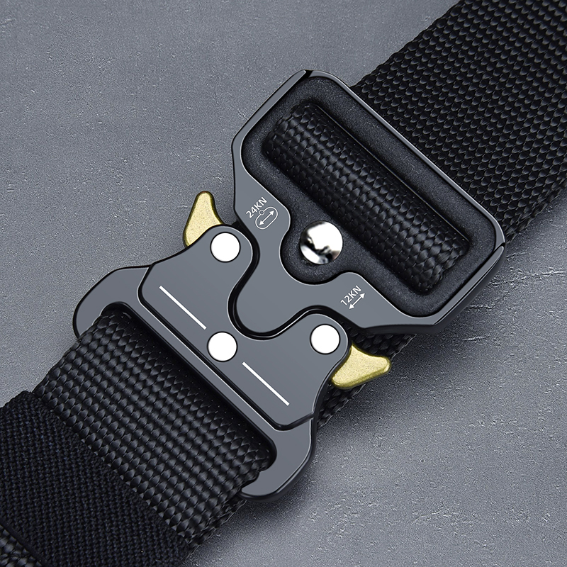 Army Tactical Belt Military High Quality Nylon Men's Training Belt Metal Multifunctional Buckle Outdoor Sports Hook New