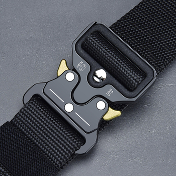 Army Tactical belt Military high quality Nylon Men's training belt metal multifunctional buckle outdoor sports hook new military web belt 1 5 inch rapid release gun belt tactical nylon duty belt with buckle multifunctional gear outdoor equipment