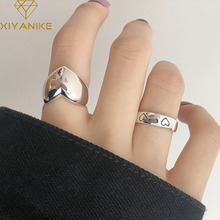 XIYANIKE 925 Sterling Silver LOVE Heart Width Rings for Women Couples Creative Trendy Birthday Jewelry Gifts Prevent Allergy
