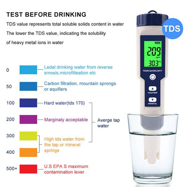 Professional Digital Water Tester 5 In 1 PH/TDS/EC/Salinity/Temperature Tester Pen Waterproof Multi-Function Meter