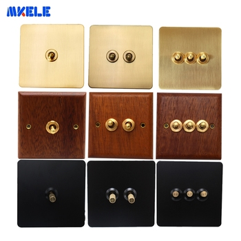 10A 1/2/3 Gang Brass Toggle Switch Retro Stainless Steel Wood Brass Panel  Wall Lamp Switch 86 Type Dual Control AC 110-250V chint lighting switches 118 type switch panel new5d steel frame four position six gang two way switch panel
