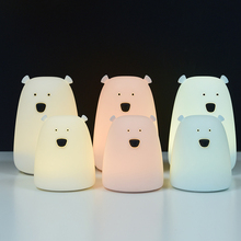Lovely Silicone Bear Led Night Light Color Changing Lamp Bedside Decoration For Children Kid Toy Gift