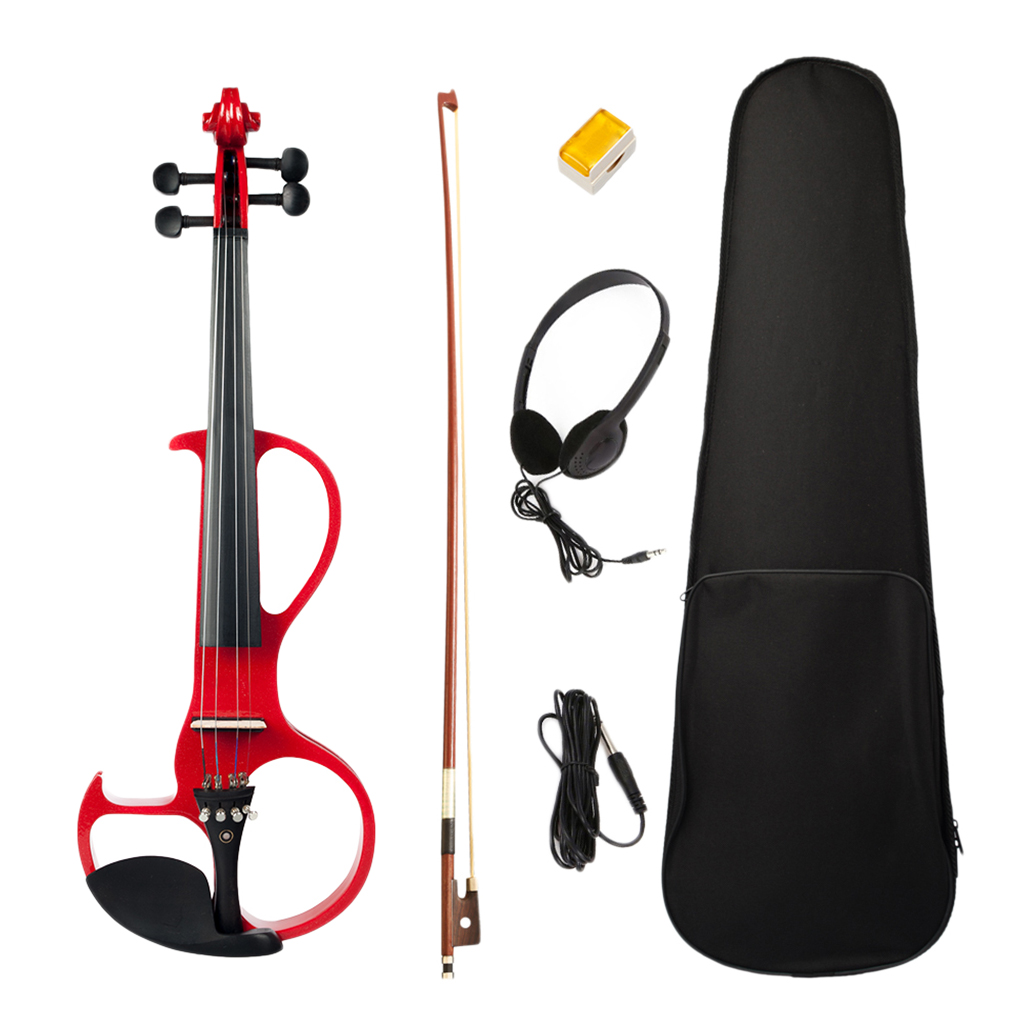 Exquisite Solidwood Electric Silent Violin Red with Rosin Bow Hard Case Headphone Cable, 4/4
