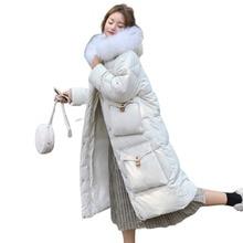 Winter Jacket Women Veste Femme Long Coat Big Pocket Imitation Hair Collar Hat Bayan Mont Icebear Dames Jassen Parka Feminina