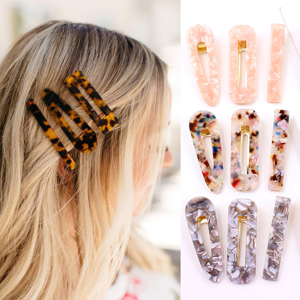 New Woman Acrylic Hair Accessories Water Drop Square Acetate Hair Clip Pin Hollow Geometric Hairpins Barrettes Girls Holder