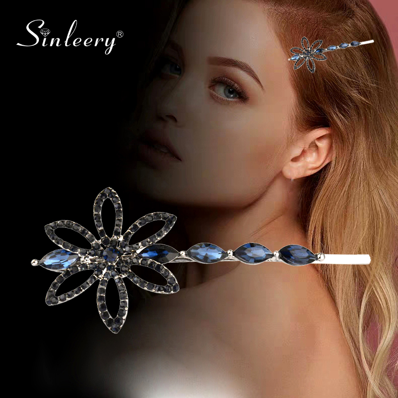 SINLEERY Chic Flower Heart Hair Pins Silver Color Full Gray Blue Zircon Wedding Hair Accessories For Women Jewelry FS009 SSD image
