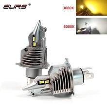 Eurs h4 led farol do carro canbus luz led h4 hi/lo feixe 3000k 4300k 6000k lutador h4 motocicleta carro farol 12v 24v lâmpadas de automóvel