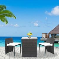 2pcs Chairs + 1 Bar Table Outdoor Modern Dessert Shop Cafe Rattan Sofa Set