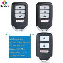 KEYECU Thông Minh Điều Khiển Từ Xa Chìa Khóa Xe Ô Tô Với 3 4 Nút 313.8MHz   FOB Dành Cho Xe Honda Accord Civic Crosstour CR V FCC ID: ACJ932HK1210A