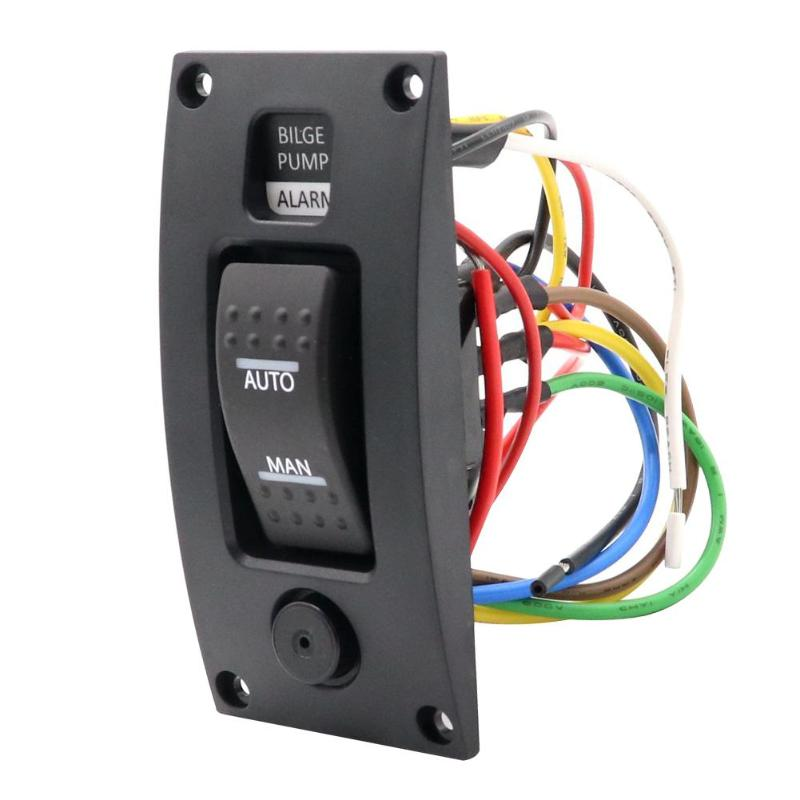 3 Way Bilge Pump Rocker Switch+Alarm Panel AUTO-OFF-MAN IP66 For Marine Boat Design Of Alarm With Visual And Sound
