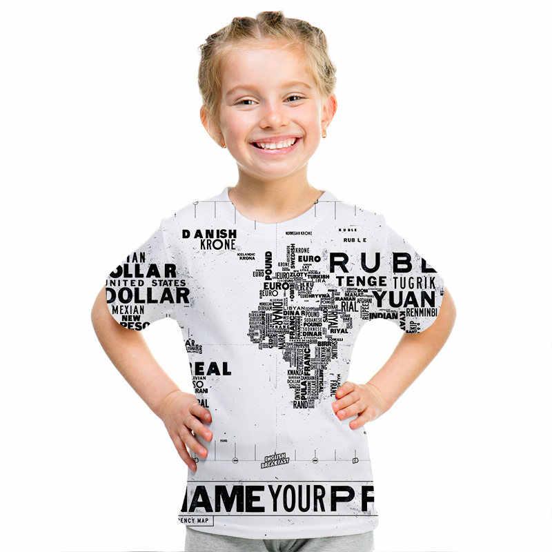 תינוק עולם מפת חולצה בני מצחיק TShirt ילדים קיץ אופנה אנימה 3D T חולצה ילדי בגדים מפה של רוסיה חולצות tees 2019 חדש