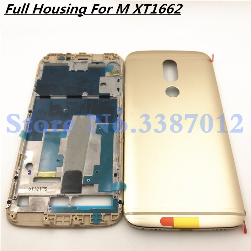 Original 5.5'' For Motorola Moto M XT1662 XT1663 Middle Frame Plate Front Bezel Housing+Metal Battery Back Cover