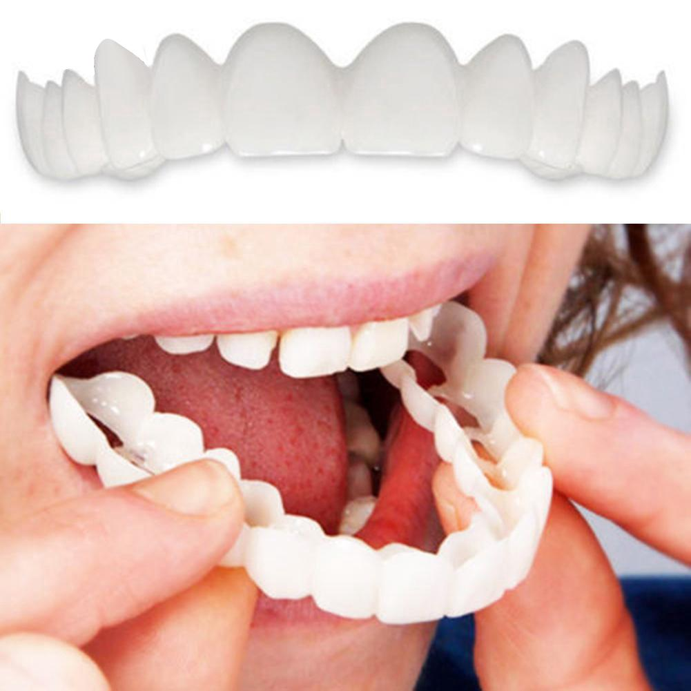 2Pcs Silicone Simulation Upper Bottom Teeth Denture Whitening Fake Tooth Cover