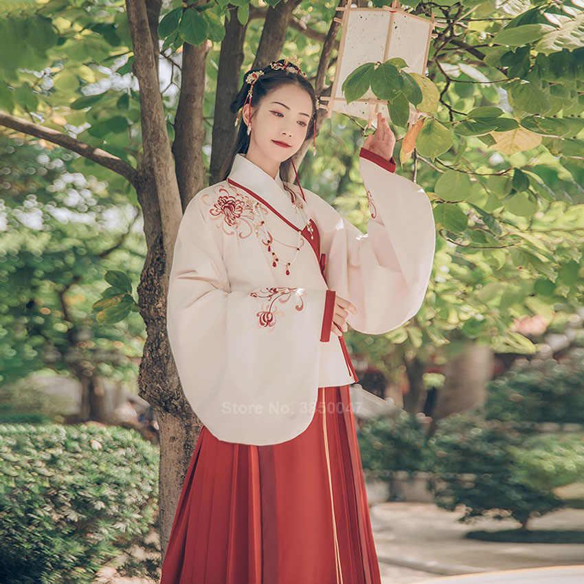 Trung Quốc Cổ Đại Trang Phục Cổ Cosplay Vintage Thêu Hoa Truyền Thống Hanfu Đầm Nữ Carnival Đảng Năm Mới Dân Gian