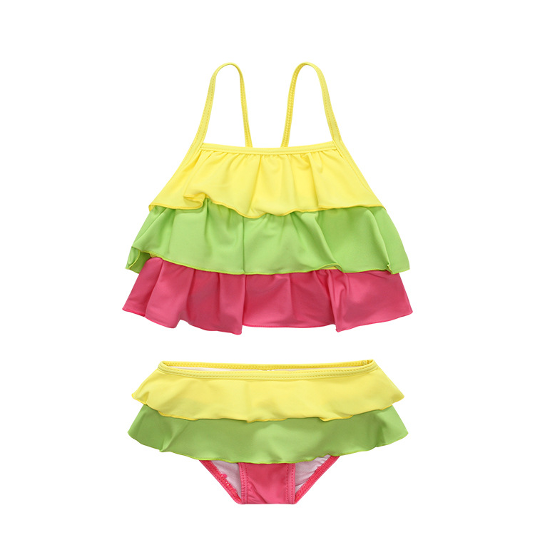 Girls Split Type Swimsuit Color Multilayer Ultra-stretch Quick-Dry Beach Swimwear 2-6-Year-Old