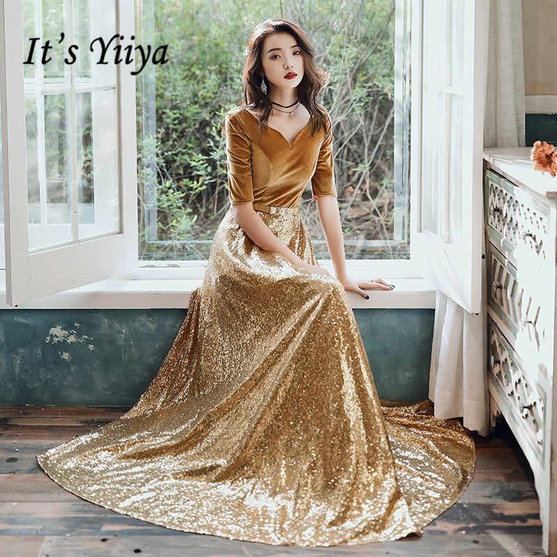 Si tratta di Yiiya Vestito Da Sera Lungo di Paillettes Oro In Velluto Da Sera Abiti Per Le Donne Convenzionale Elegante Abiti Plus Size robe de soiree LF144