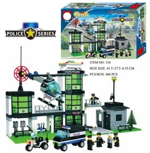 466pcs Police Station Prison Trucks Building Blocks Compatible Legoing Boat Helicopter Policeman City Bricks Toys for Children