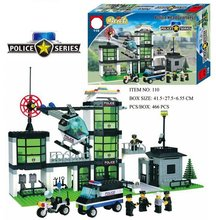 466pcs Police Station Prison Trucks Building Blocks Compatible Legoing Boat Helicopter Policeman City Bricks Toys for Children(China)