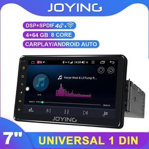 Joying Eu Warehouse Universal 7 inch 1din 4GB+64G ROM+4G network Car stereo unit Car Multimedia Player with DSP Wireless Carplay(China)